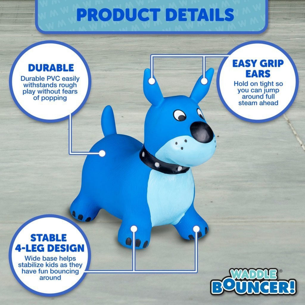 Waddle Ride-On Bouncer Blue Dog