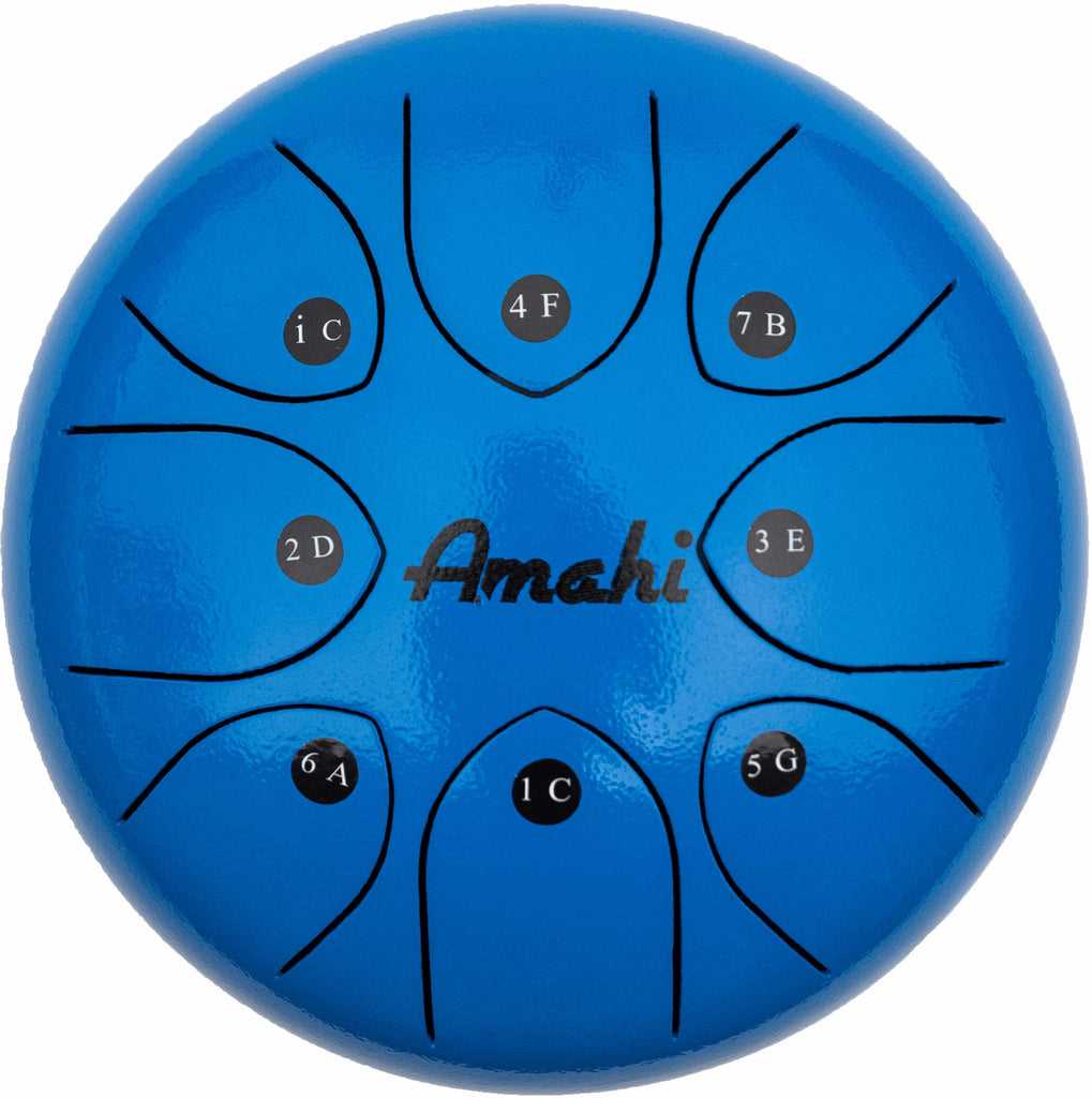 "Blue 8"" Steel Tongue Drum"