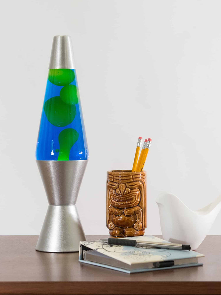 blue and yellow lava lamp