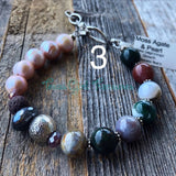 Agates - Adjustable diffuser bracelet with assorted gemstones