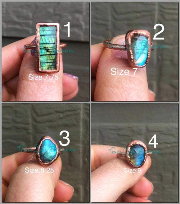 Rose cut Labradorite rings
