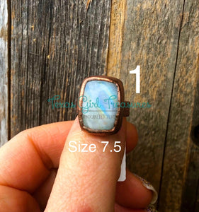 Moonstone electroformed rings