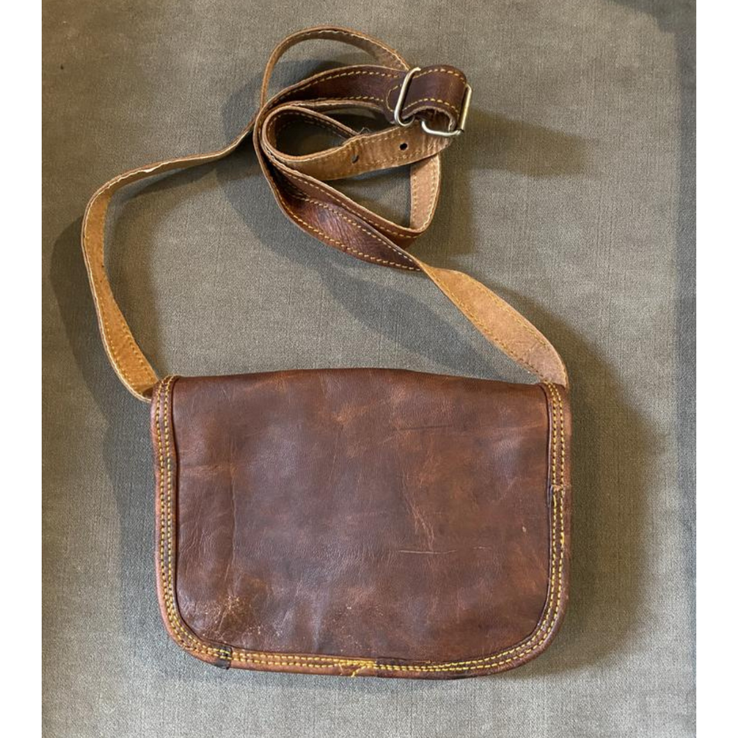 Camel Skin Leather Messenger Bag