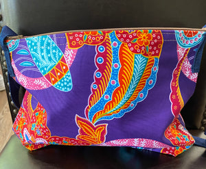 Multi-Colored Fabric Patterned Shoulder Bag (Pink and Turquoise)