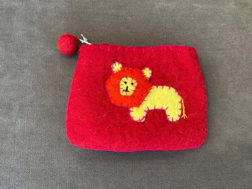 Lion Felt Money Pouch