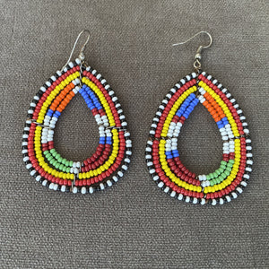 Tear Drop Multi Colored Beaded Earrings