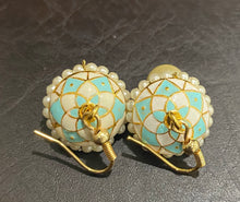 Load image into Gallery viewer, Artisan Earrings (Pearl Bead & Turquoise Blue)