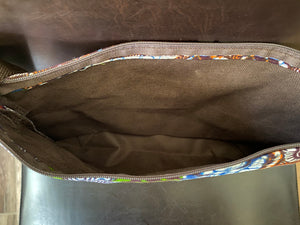 Multi Colored Fabric Patterned Shoulder Bag (Brown and Green)