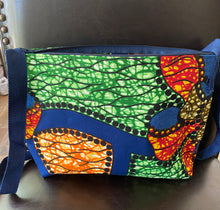 Load image into Gallery viewer, Multi Colored Fabric Patterned Shoulder Bag (Orange and Blue)