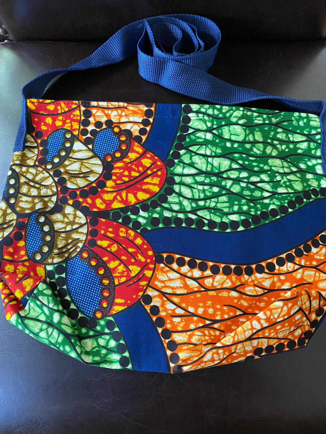 Multi Colored Fabric Patterned Shoulder Bag (Orange and Blue)