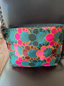 Multi-Colored Fabric Patterned Shoulder Bag (Teal and Turquoise)