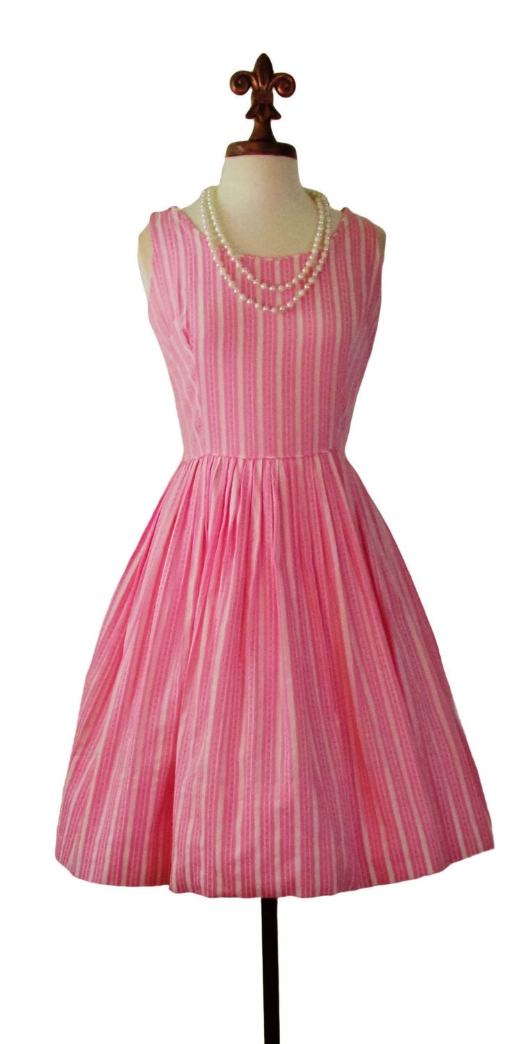 1950's California Charmer Pink Cotton Candy Striped Sundress, Sz Medium - Ysabel Vintage Online