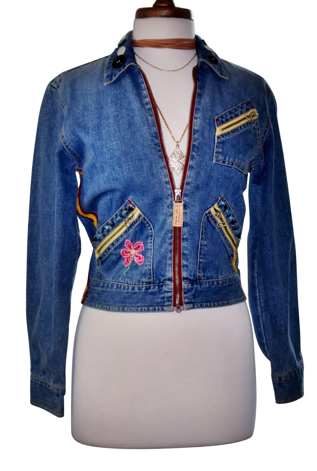 Festival Embroidered Beaded Denim Crop Jacket, Blue Denim, Logo, Sz S/M - Ysabel Vintage Online