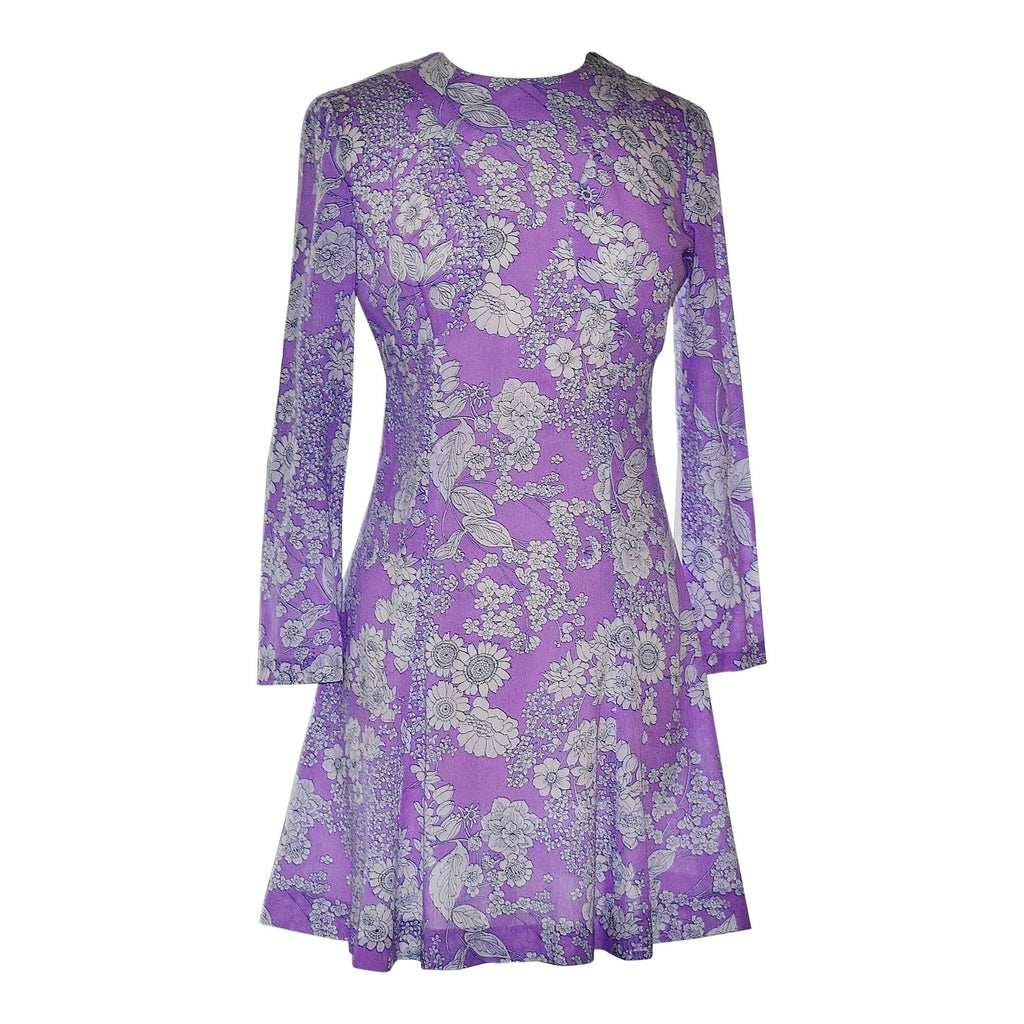 60s Early 70s Mod Floral Lavender Print Dress, Flared Hem, Long Sleeves, Union Made, Sz M - Ysabel Vintage Online