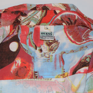80s Guess Georges Marciano Spread Collar Shirt, Red Tones, Classic Race Cars, Jazz, Tropical, Sz L - Ysabel Vintage Online