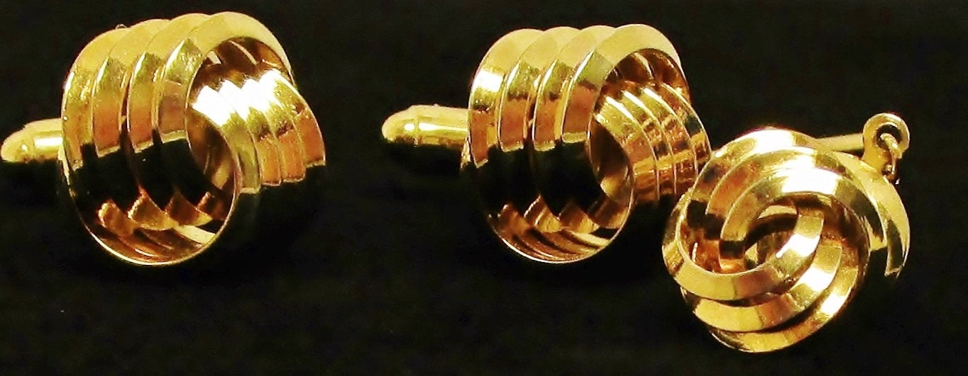 60s Modernist Anson Abstract Gold Knot Cuff Links & Tie Tack Set - Ysabel Vintage Online