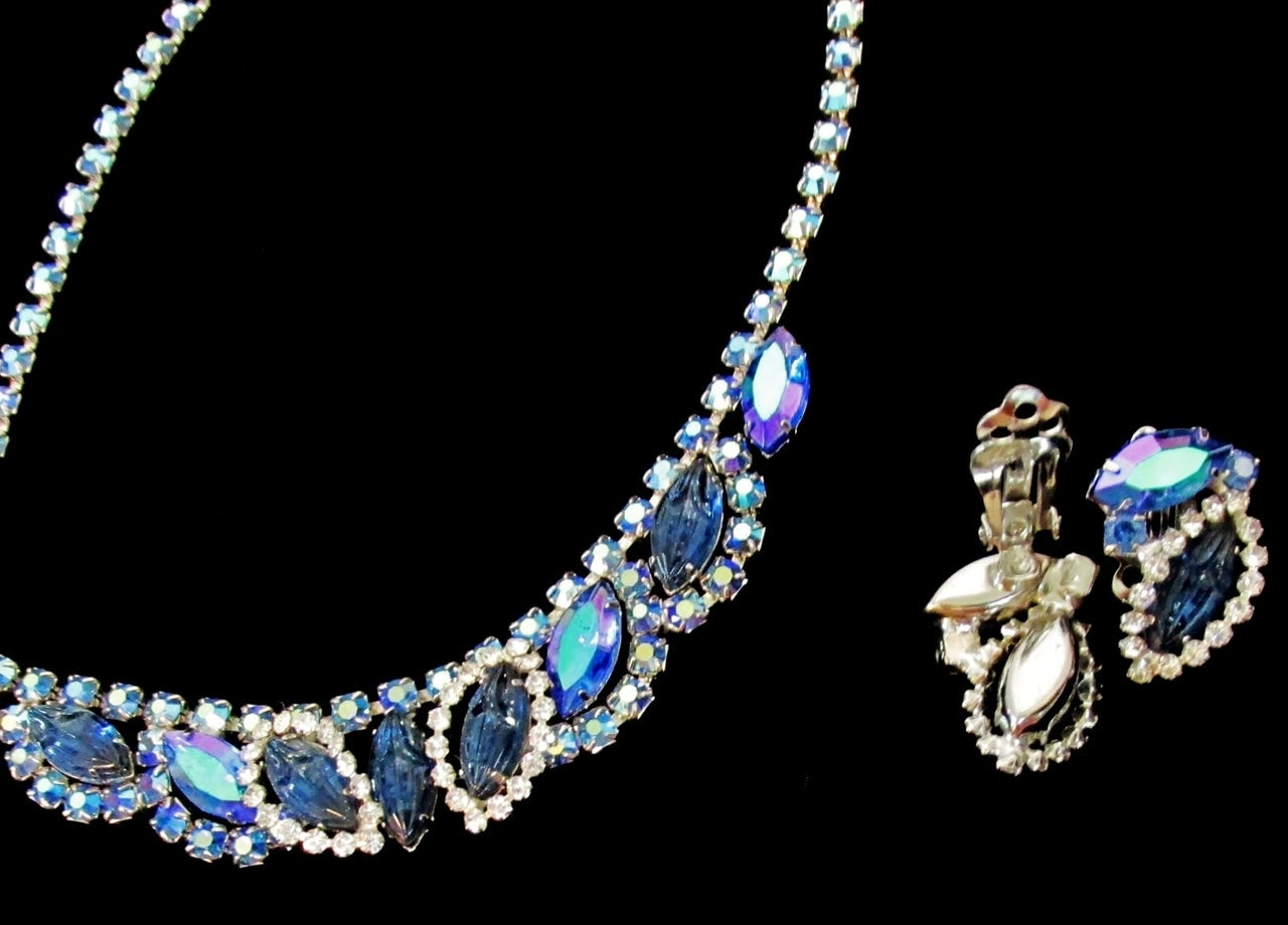 50s 60s Set Juliana Aurora Borealis Extravaganza Necklace and Earrings - Ysabel Vintage Online