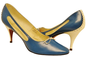 60s Leather Heels Made in Italy, Caprini, Royal Blue & White, Sz. 7.5 - Ysabel Vintage Online