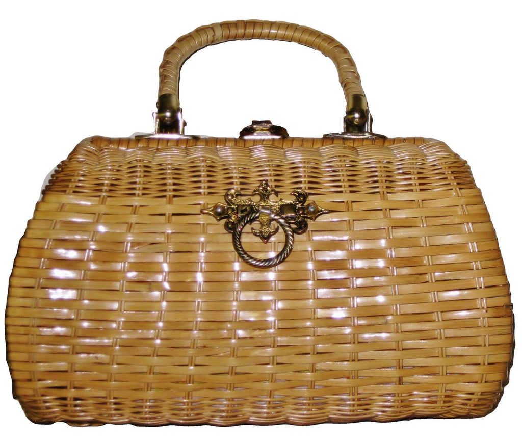 Large Mid Century 50s Wicker Basket Purse, Top Handles,  Sarne Hong Kong - Ysabel Vintage Online