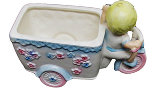 50s Napcoware Ceramic Baby Driving Flowered Trike Planter, Baby Nursery, Shower Gift - Ysabel Vintage Online