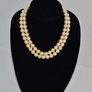 Unused Marvella Statement Large Ivory Faux Pearl Double Strand Necklace NOS with Tags Japan - Ysabel Vintage Online