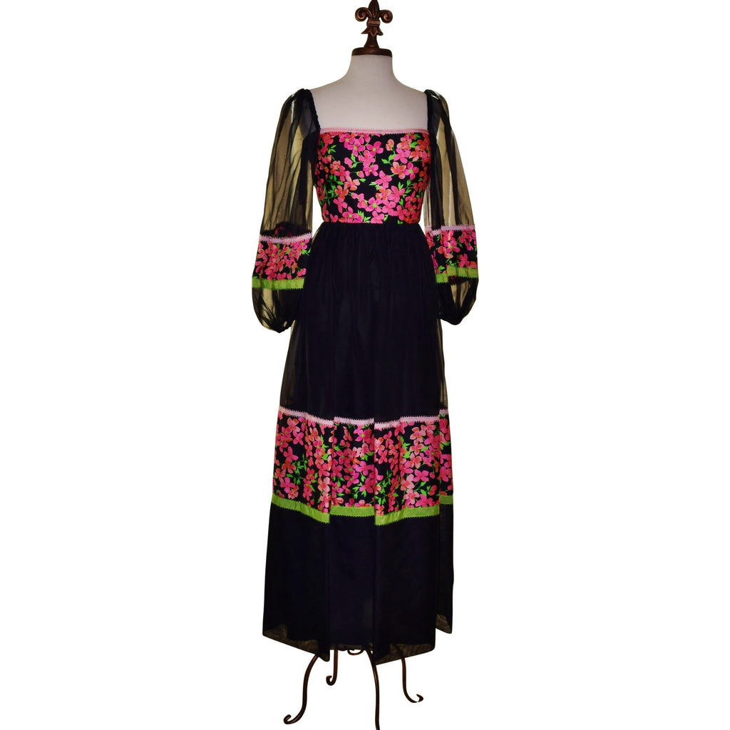 Vintage 70s Jill Richards Silk & Chiffon Bold Floral Maxi Dress, Layered, Illusion Sleeves, Romantic, Evening Dress/Sz 7 - Ysabel Vintage Online