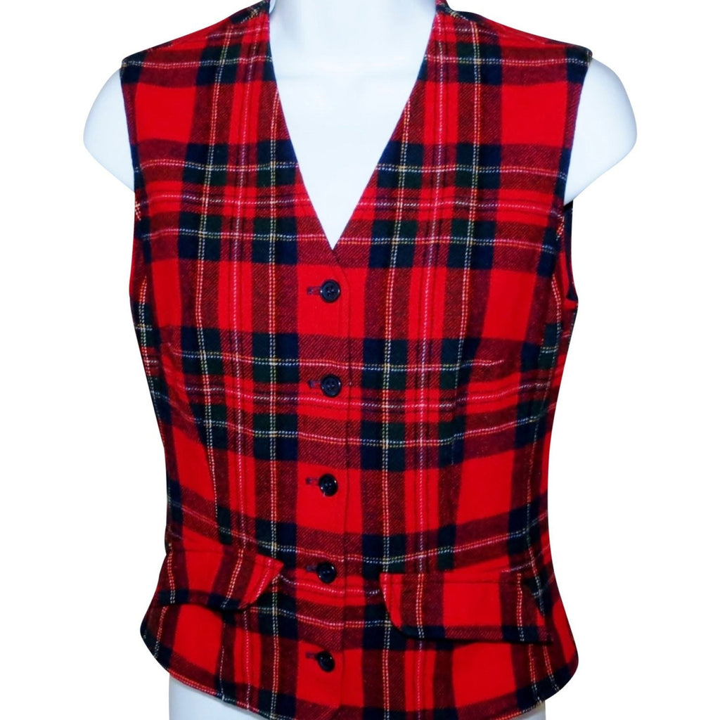 Vintage Like New Pendleton Complex Plaid Vest, Sz Small - Ysabel Vintage Online