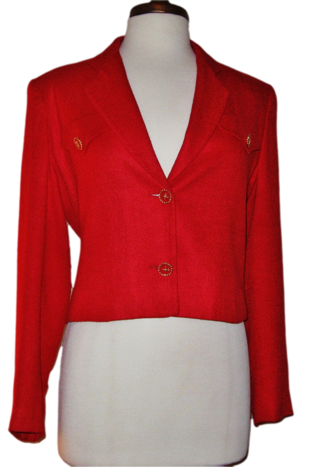 80s Red Linen Blend Military Crop Jacket, Blazer, lgr label - Ysabel Vintage Online