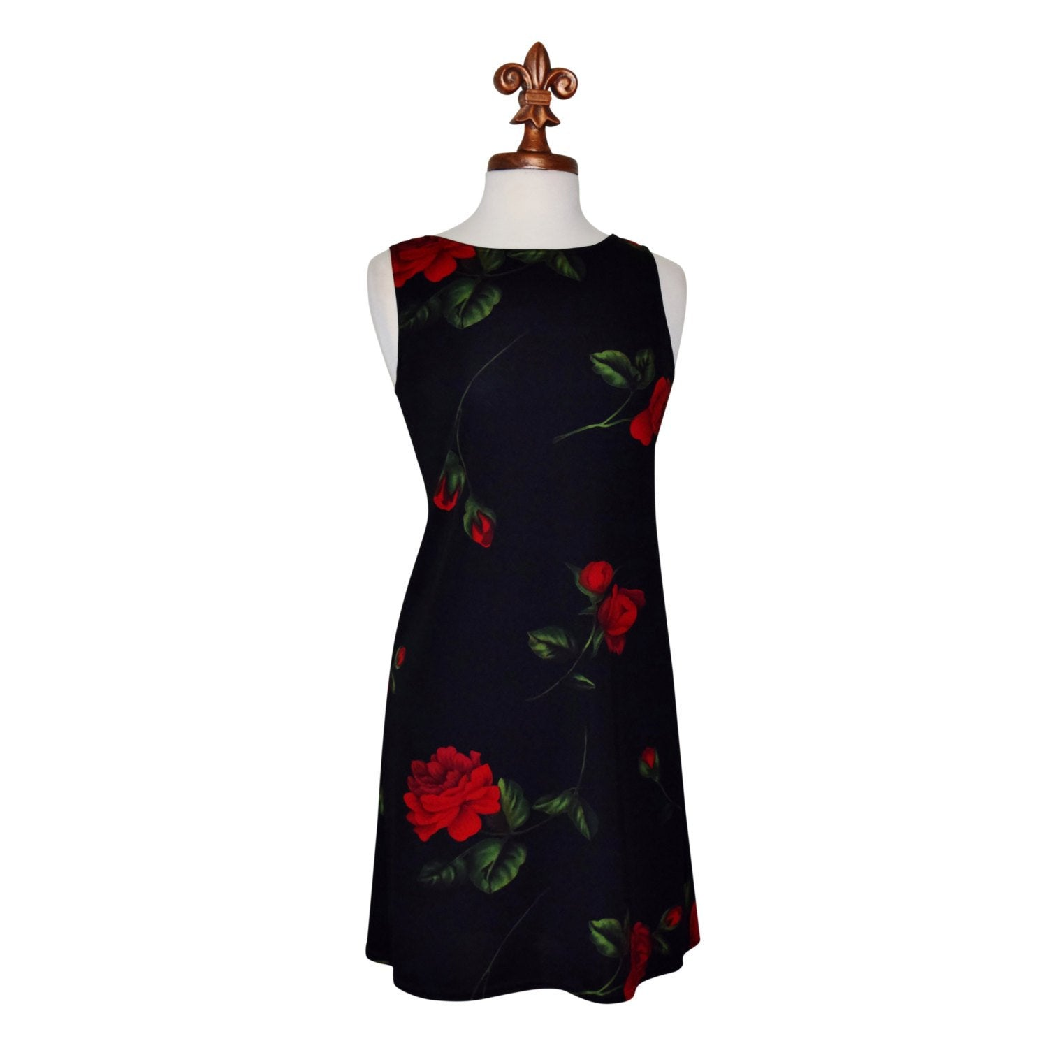 80s Bold Floral Spanish Rose, Great American Sportswear Floral Dress, Sz M - Ysabel Vintage Online