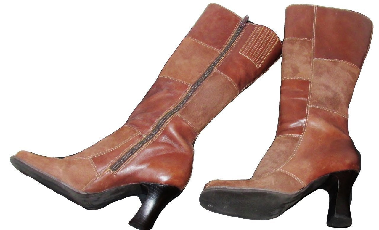 70's Style Patchwork Leather & Suede Boots,  Boho Hippie, Sz 8 - Ysabel Vintage Online