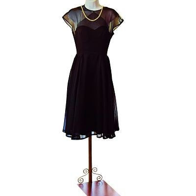 50s Nona New York Chiffon Little Black Dress, Cocktail, Formal Prom Party, llusion, Fit n Flare/Full Sweep, Sz Small, Layered - Ysabel Vintage Online