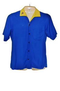 70s King Louie Bowling Shirt, Two Tone Blue Yellow, Chain Stitched Back, Mens Sz Large - Ysabel Vintage Online