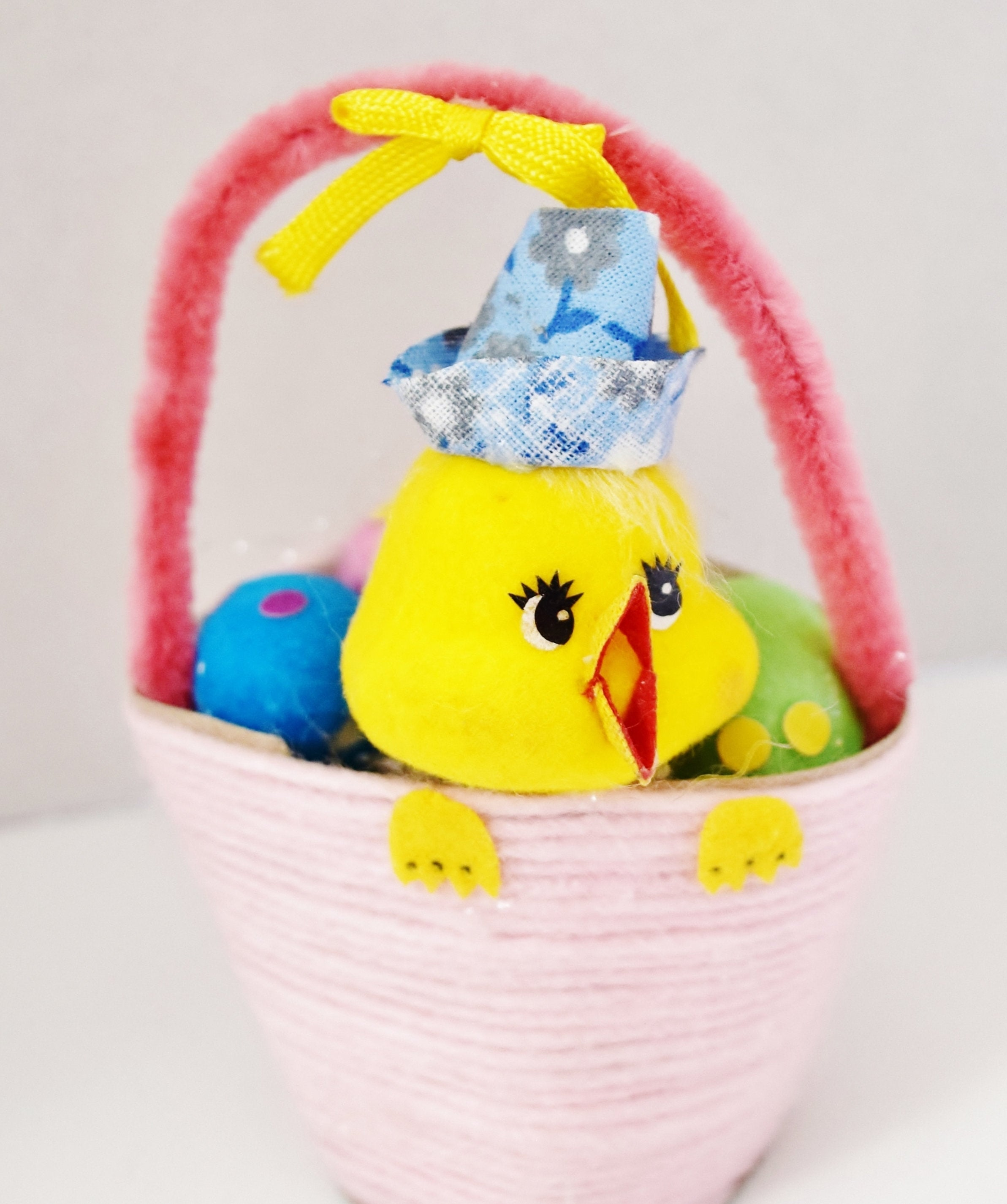 70s Easter Chick in Basket with Eggs Decoration, Made in Taiwan #1 - Ysabel Vintage Online