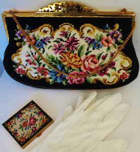 50s Near Mint Julius Garfinckel Needlepoint Bag Purse Clutch, Small - Ysabel Vintage Online