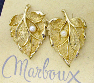 50s Marcel Boucher Marboux New Old Stock Faux Pearl Goldtone Leaf Theme Earrings - Ysabel Vintage Online