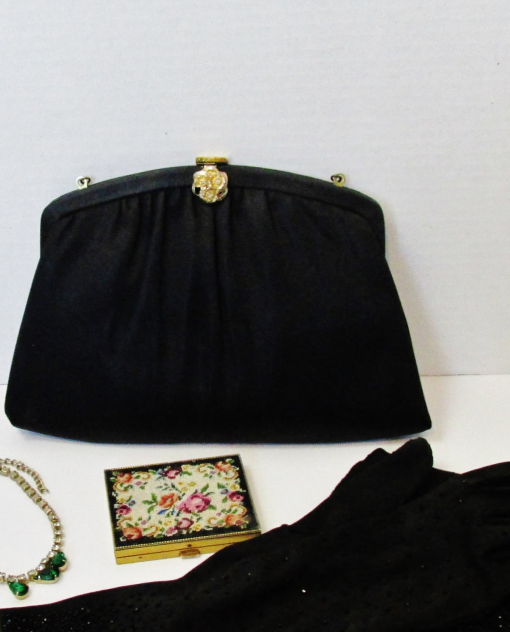 60s Harry Levine , Small Black Fabric Purse with Gold Floral Rhinestone Clasp - Ysabel Vintage Online