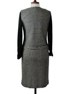 60s Mod Houndstooth Vest Dress, Black White, Large Buttons - Ysabel Vintage Online
