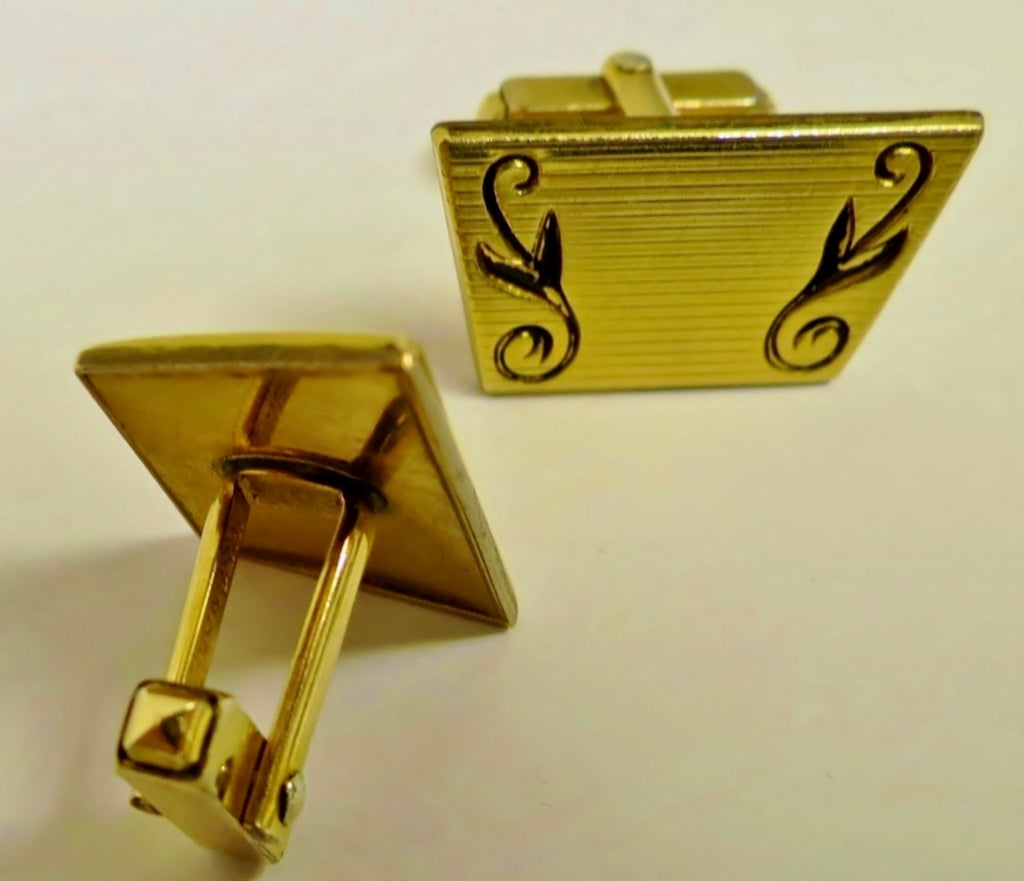 1940s Western Themed Cufflinks Mens, Anson, Gold Filled, Gift for Him - Ysabel Vintage Online