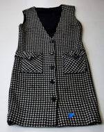 Load image into Gallery viewer, 60s Mod Houndstooth Vest Dress, Black White, Large Buttons - Ysabel Vintage Online