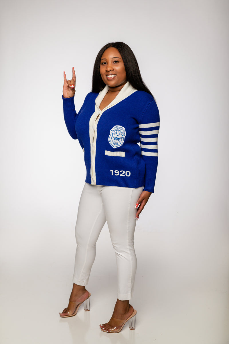 ZPhiB Varsity Letterman Sweater - Royal Blue