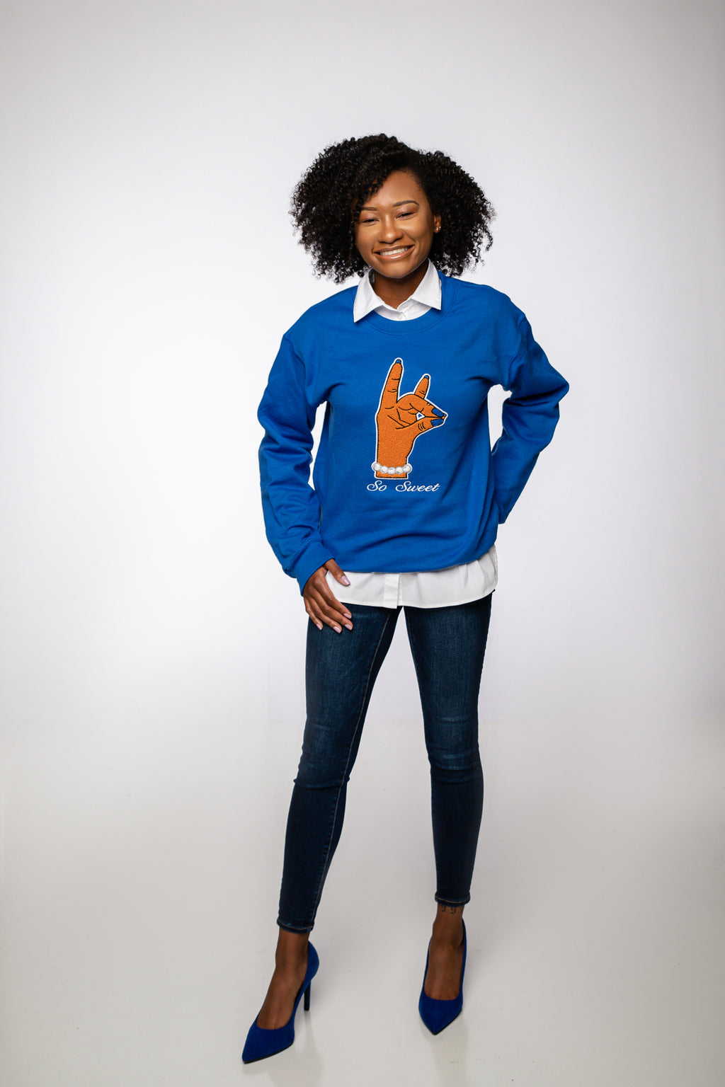 So Sweet Chenille Crewneck - Royal Blue