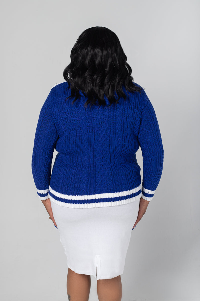 Finer Cable Knit Sweater - Royal