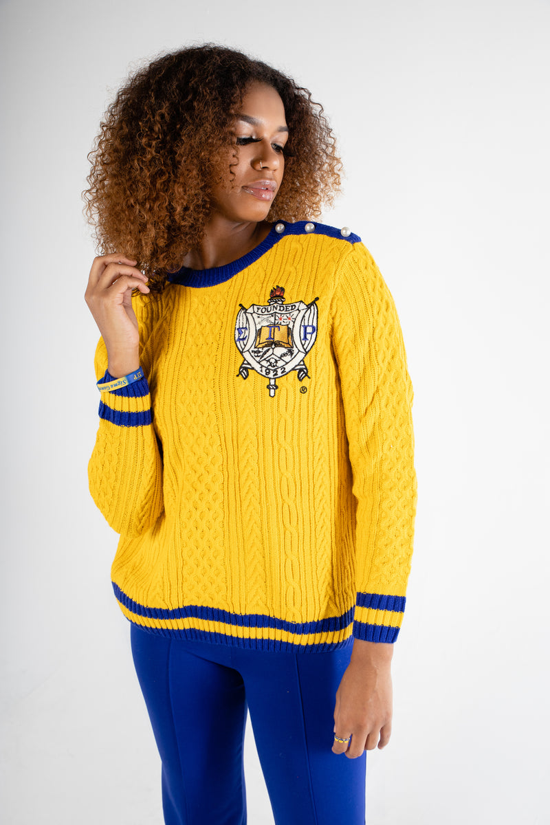 RHOyal Cable Knit Sweater - Gold