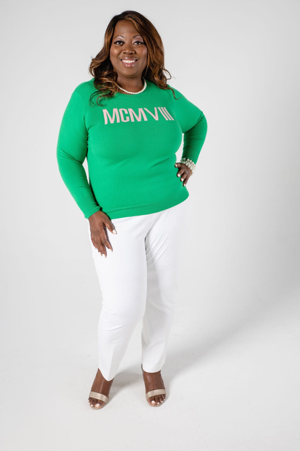 1908 Roman Numeral Sweater - Green