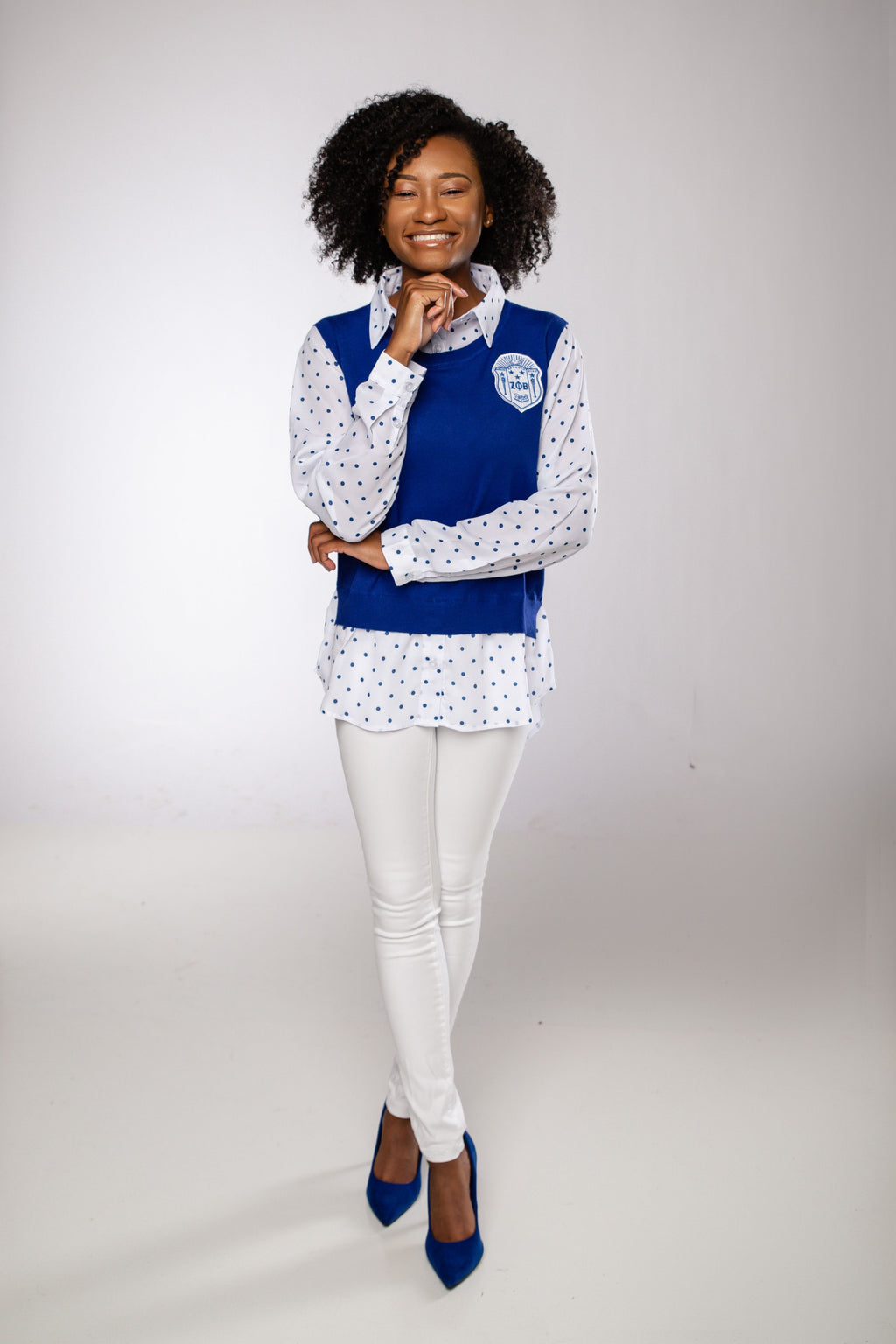 Polka Dot Chiffon Sweater - Royal