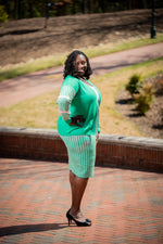 AKA - Houndstooth Skirt Set - Green