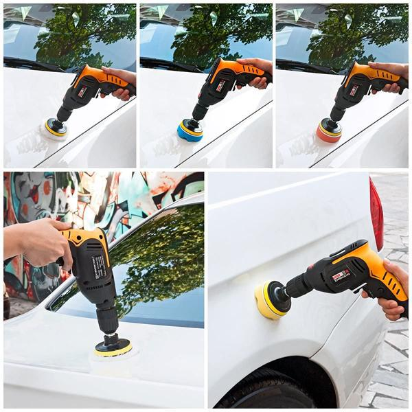 23 pc Car Polishing Pad Kit Drill Tip Connection w/ Mothers Brazilian Carnauba Cleaner Wax