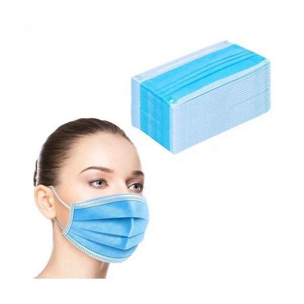 3 Ply Disposable Face Masks with Elastic Ear Loops - 50 Pack
