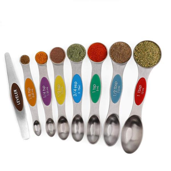 Magnetic Dual Sided Measuring Stainless Steel Spoons with Leveler - Set of 8