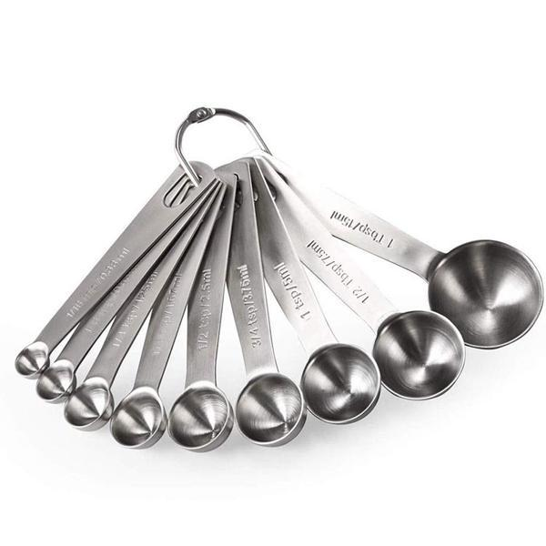 Stainless Steel Measuring Spoons with Ring Holder - Set of 9